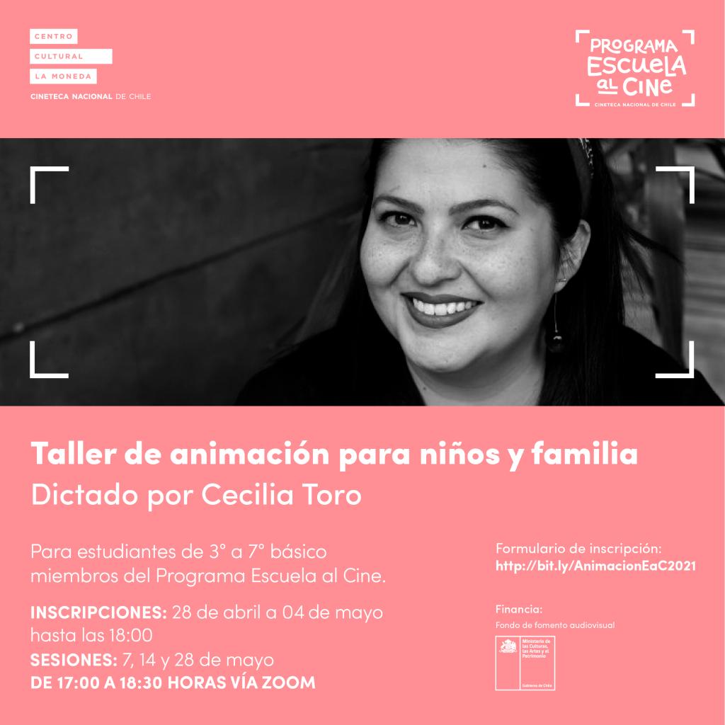 invitación a taller de animación dictado por Cecilia Toro